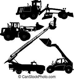 jogo, ilustração, machinery., silhuetas, vetorial, construção