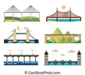 jogo, ilustração, silueta, ponte