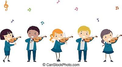 jogo, ilustração, uniforme, violino, crianças, stickman
