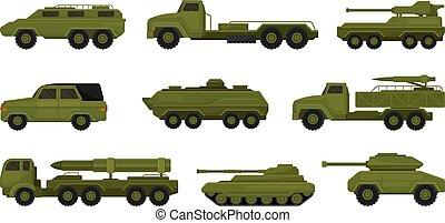 jogo, ilustração, vehicles., branca, militar, experiência., vetorial