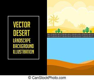 jogo, ilustração, vetorial, fundo, paisagem deserto