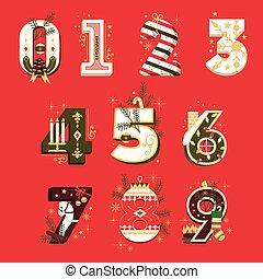 jogo, ilustração, vetorial, números, natal