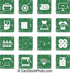 jogo, imprimindo, grunge, ícones