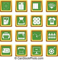 jogo, imprimindo, verde, ícones