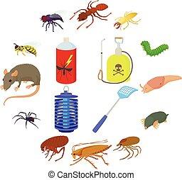 jogo, inseto, ícones, estilo, caricatura