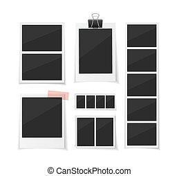 jogo, instante, cobrar, moments., baixo, fotografias, papel, vetorial, experiência., photobooth, fotos, branca, tape., sticked, retro