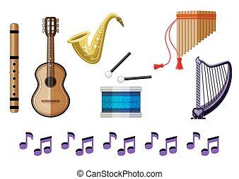jogo, instrumentos, experiência., vetorial, branca, musical
