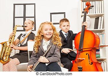 jogo, instrumentos, junto, musical, crianças, feliz
