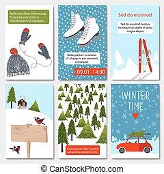 jogo, inverno, 6, cartões, encantador, templates.