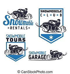 jogo, inverno, icons., snowmobile, emblemas, emblemas
