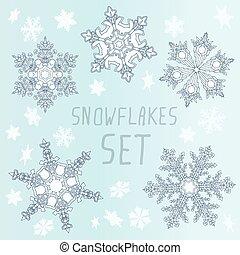 jogo, Inverno,  Snowflakes