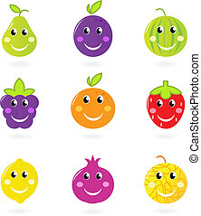 jogo, isolado, caricatura, fruta, caráteres, branca, sorrindo, ícone