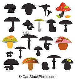 jogo, isolado, ilustração, cogumelos, vetorial, fundo, branca