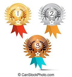 jogo, isolado, SÍMBOLOS, fundo, vetorial, recompensas, branca, medalhas