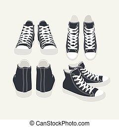 jogo, isolado, vetorial, sneakers, pretas, caricatura