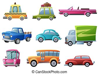 jogo, isolated., carros, vindima, antigas, vetorial, ilustração, caricatura, retro