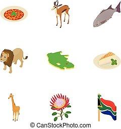 jogo, isometric, áfrica, estilo, ícones