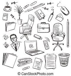 jogo, isometric., equipamento escritório, vetorial, ícone