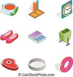 jogo, isometric, estilo, fitment, ícones