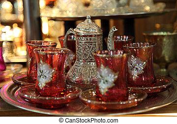 jogo, istambul, turco, chá, tradicional, bazaar grande