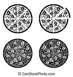 jogo, itália, ilustração, pizza