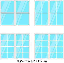 jogo, janelas, isolado, fundo, vetorial, branca