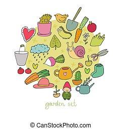 jogo, jardim, legumes, insects., potes, gardening., plantas, objects., ferramentas