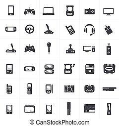 jogo, jogo, vídeo, joystick, ícones