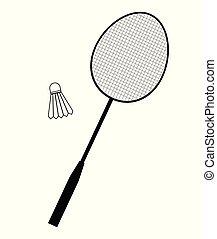 jogo, jogo, vetorial, equipamento, apartamento, badminton
