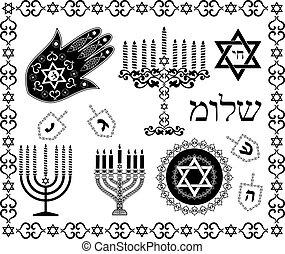 jogo, judeu, símbolos, vetorial, feriado, religiosas