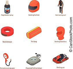 jogo, karting, isometric, estilo, ícones