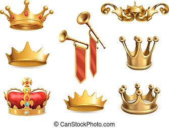 jogo, king., coroa ouro, vetorial, 3d, ícone