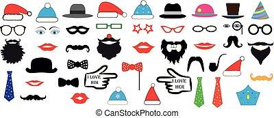 jogo, -, lábios, óculos, ilustração, chapéus natal, vetorial, barraca, bigodes, foto, máscaras, partido, desenho, retro