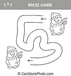 jogo, labirinto, engraçado, pré-escolar, cartão, pingüins, crianças, inverno
