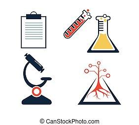 jogo, laboratório, ícones