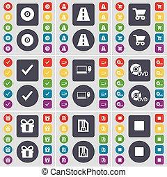jogo, laptop, dvd, seu, design., apartamento, mídia, botões, disco, arquivo, vigor, shopping, estrada, parada, símbolo., presente, ícone, colorido, grande, vetorial, carrapato, carreta