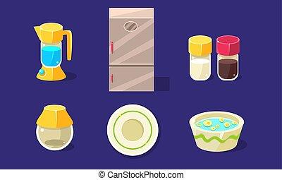 jogo, lar, cozinha, ilustração, equipamento, vetorial, eletrodomésticos elétricos, kitchenware
