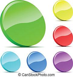 jogo, lasca, icons., varicolored, vetorial, 3d