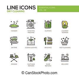 jogo, lavanderia, ícones, -, desenho, linha