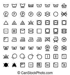 jogo, lavanderia, ícones, vetorial, linha, style.