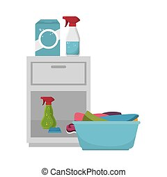 jogo, lavanderia, serviço, ícones