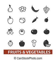 &, jogo, legumes, ícones, vetorial, frutas