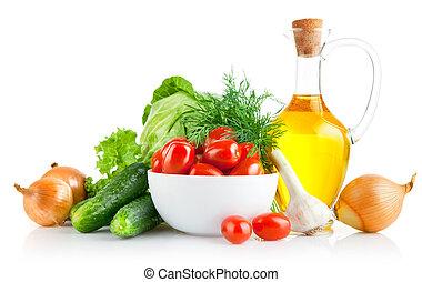 jogo, legumes frescos, com, azeite oliva