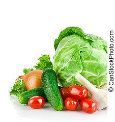 jogo, legumes frescos, com, folha verde