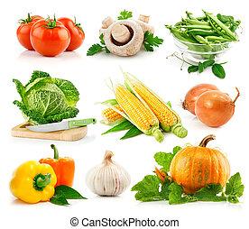 jogo, legumes frescos, com, verde, licença