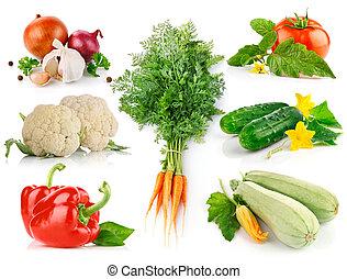 jogo, legumes frescos, com, verde sai