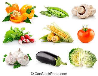 jogo, legumes frescos, com, verde sai, isolado