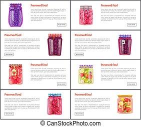 jogo, legumes, fruta, vetorial, preservado, ícone