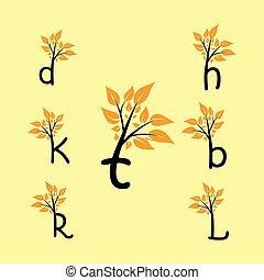jogo, letras, collection., folha árvore, alfabeto, logotipo, element.