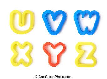 jogo, letras, isolado, forma, plástico